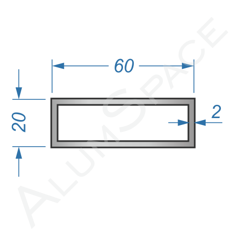 Алюминиевая труба профильная 60х20х2