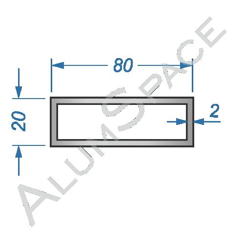 Алюминиевая труба профильная 80х20х2