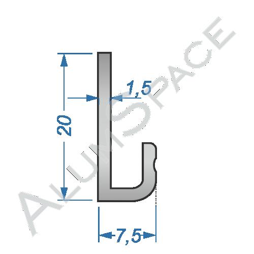 Алюминиевый профиль L-образный 20х7,5х1,5