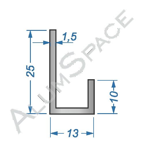 Алюминиевый профиль L-образный 25х13х1,5