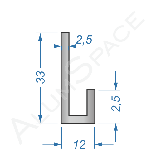 Алюминиевый профиль L-образный 33х12х2,5
