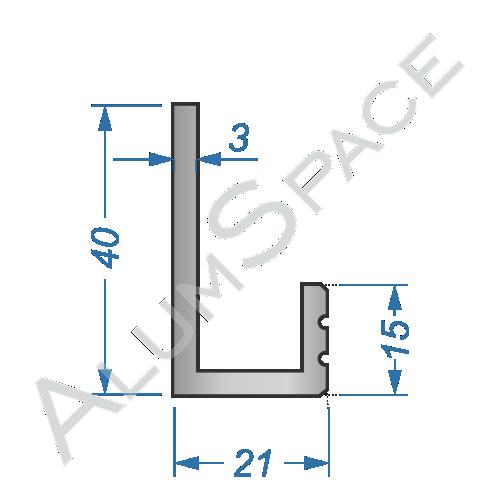 Алюминиевый профиль L-образный 40х21х3