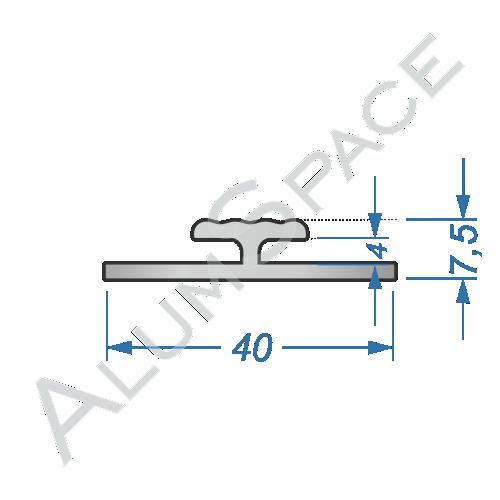 Алюминиевый профиль L-образный 40х7,5 Анод
