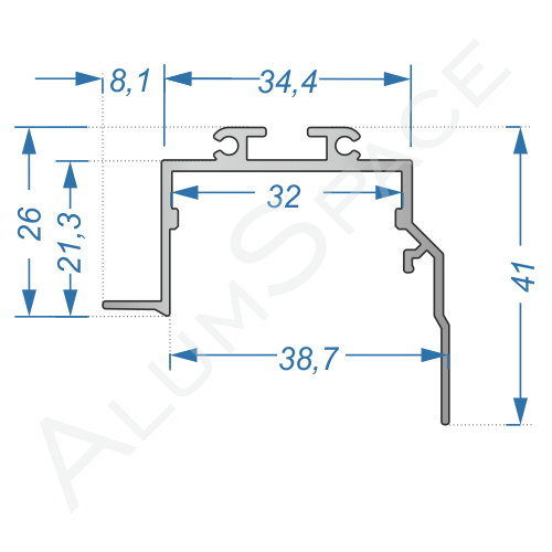 Алюминиевый LED профиль 46,8х41 Анод