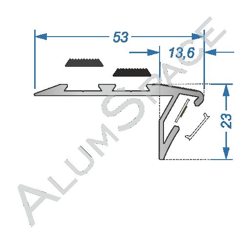 Алюминиевый LED профиль для ступеней, анод