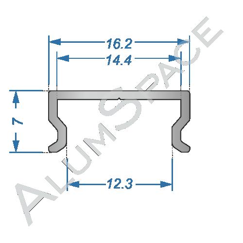 Алюминиевый LED профиль накладной 16,2х7 Анод