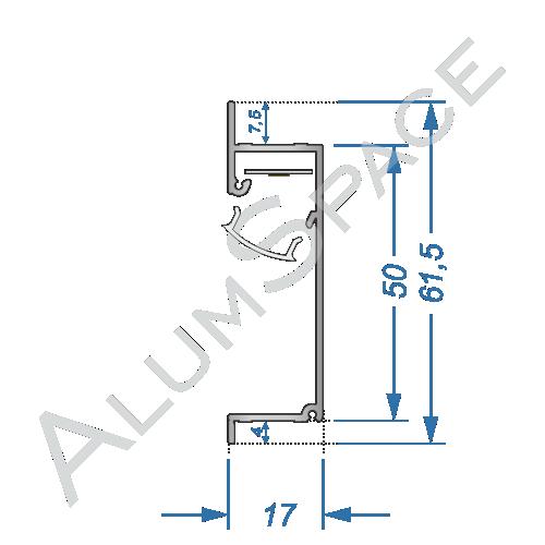 Алюминиевый LED профиль-плинтус, анод