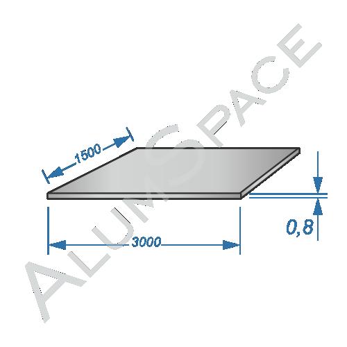 Алюминиевый лист 0,8 (1,5х3,0) 1050 А Н24