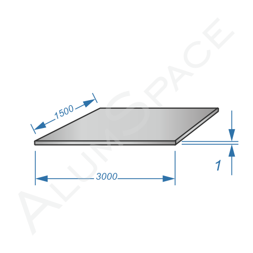 Алюминиевый лист 1,0 (1,5х3,0) 1050 А Н24