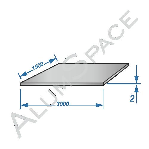 Алюминиевый лист 2,0 (1,5х3,0) 1050 А Н24