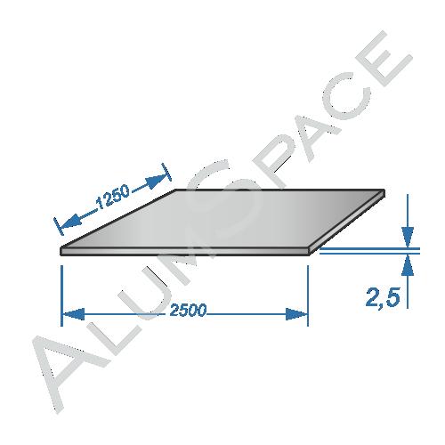 Алюминиевый лист 2.5 (1,25х2,5) 5754 Н22