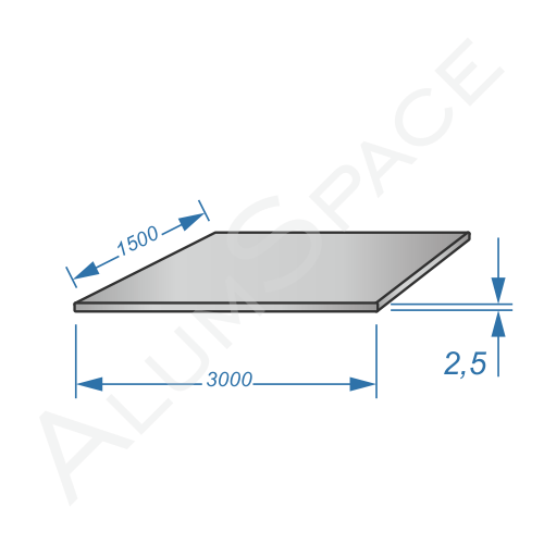 Алюминиевый лист 2.5 (1,5х3,0) 5754 Н111