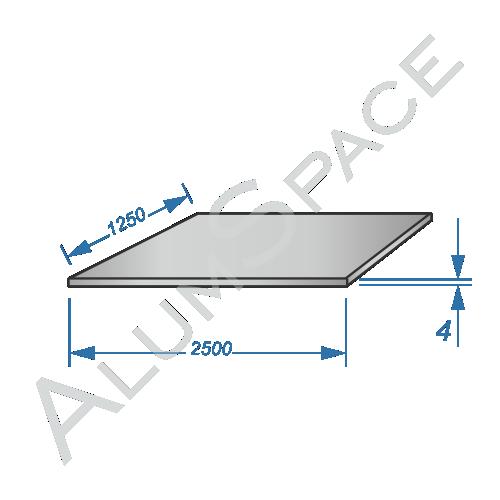 Алюминиевый лист 4,0 (1,25х2,5) 1050 А Н24