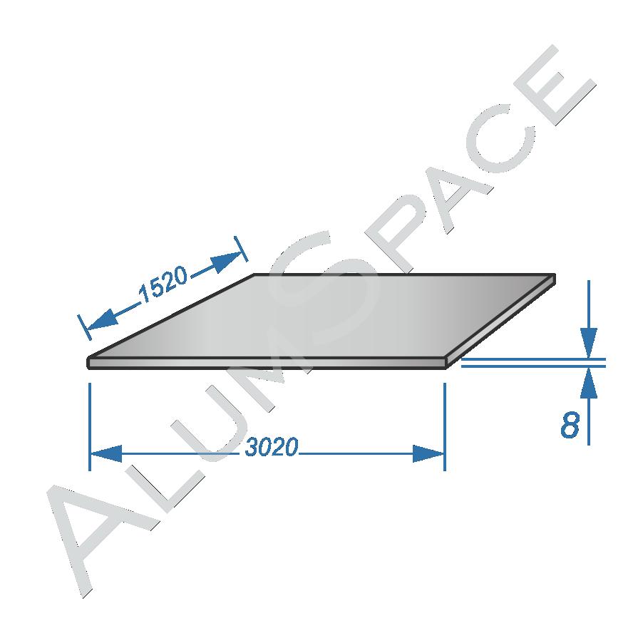 Алюминиевый лист 8,0 (1,52х3,02) 5754 Н111