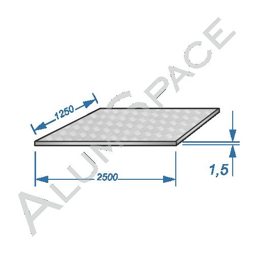 Алюминиевый лист квинтет 1,5 (1,25х2,5) 1050 А Н244
