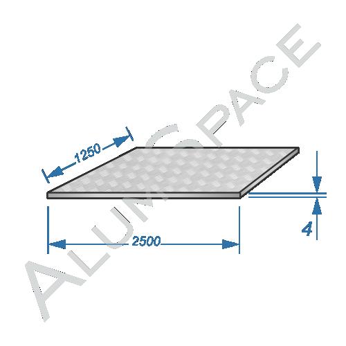 Алюминиевый лист квинтет 4,0 (1,25х2,5) 1050 А Н244