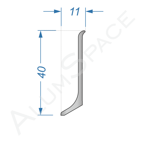 Алюминиевый плинтус накладной 40 мм, без покрытия
