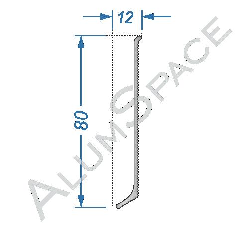 Алюминиевый плинтус накладной 80 мм, без покрытия
