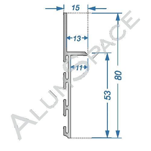 Алюминиевый плинтус скрытого монтажа 80 мм, без покриття