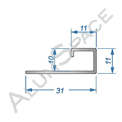 Алюминиевый пофиль L-образный универсальный 31мм х 10 х 2,7м, анод.срібло