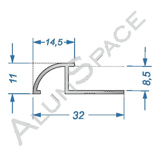 Алюминиевый порог для плитки 32мм х 2,7м, анод