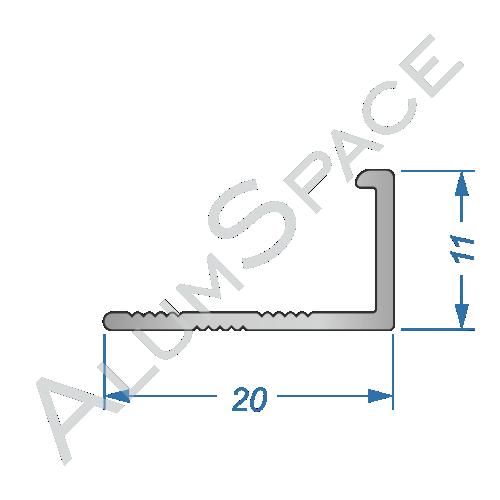 Алюминиевый порог для плитки прямой 20 х 11мм 2,7м, анод