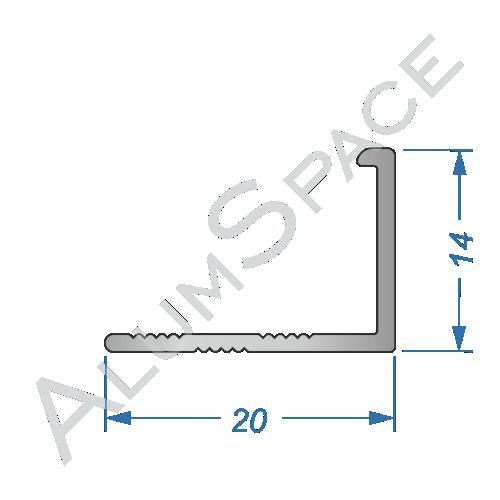 Алюминиевый порог для плитки прямой 20 х 14мм 2,7м, анод
