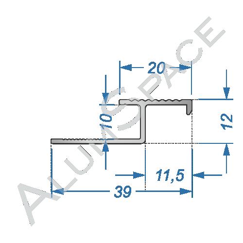 Алюминиевый порог для плитки скрытого монтажа соединительный 39мм х 2,7м, анод