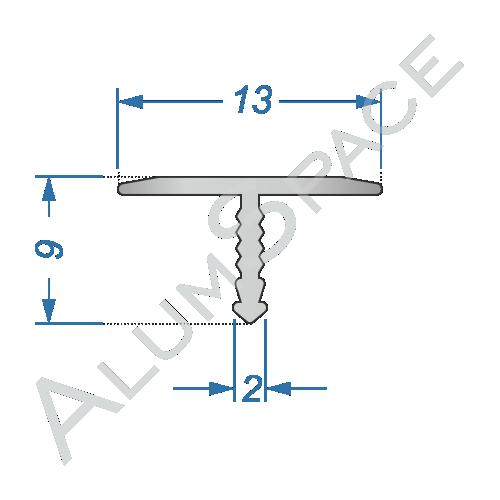 Алюминиевый порог для плитки Т-образный 13мм х 0,9м, анод