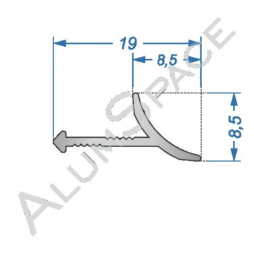 Алюминиевый порог для плитки внешний угловой 20мм х 2,7м, анод
