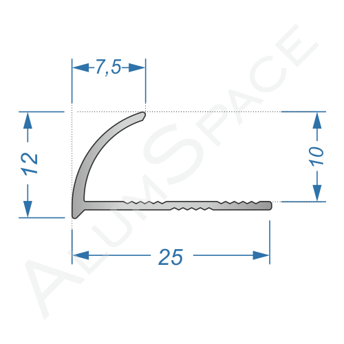 Алюминиевый порог для плитки внешний угловой 25мм х 2,7м, анод
