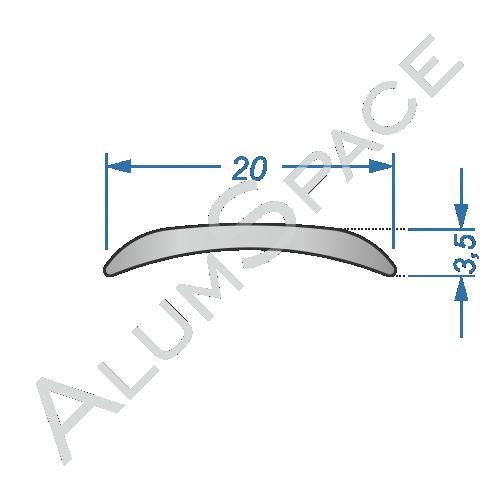 Алюминиевый порог гладкий 20мм х 0,9м, анод