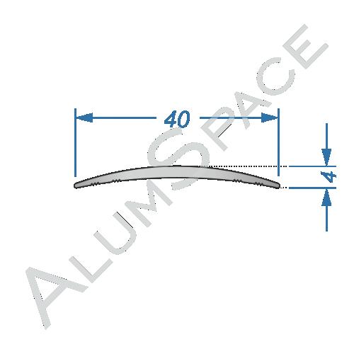 Алюминиевый порог гладкий 40мм х 1,8м, анод