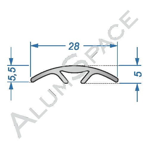 Алюминиевый порог гладкий скрытого монтажа 28мм х 0,9м, анод