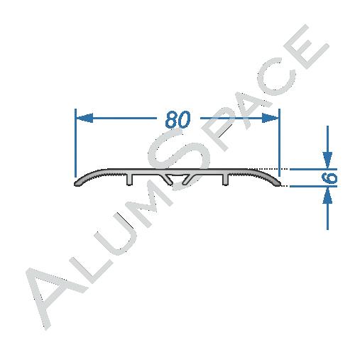Алюминиевый порог гладкий скрытого монтажа 80мм х 0,9м, анод
