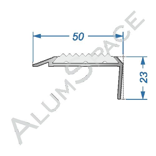 Алюминиевый порог противоскользящий лестничный 50мм х 1м, без покр.