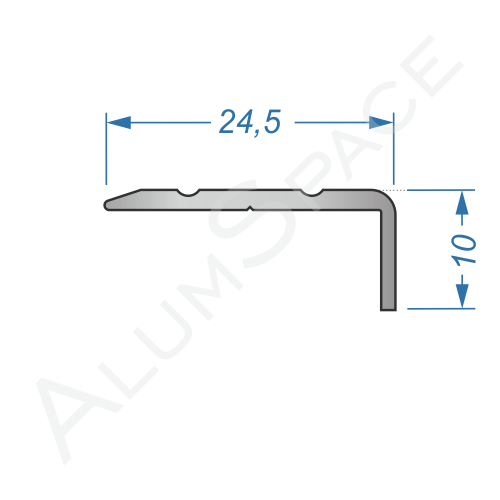 Алюминиевый порог рифленый 24,5 х 10мм  2,7м, анод