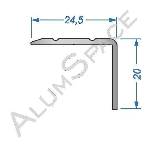 Алюминиевый порог рифленый 24,5 х 20мм 0,9м, анод
