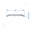 Алюминиевый порог рифленый 25мм х 2,7м, анод