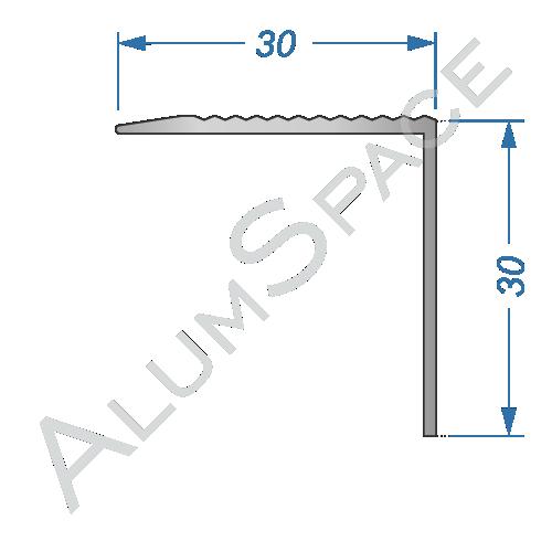 Алюминиевый порог рифленый 30 х 30мм 0,9м, анод