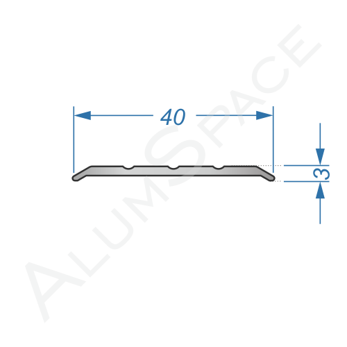 Алюминиевый порог рифленый 40мм х 2,7м, анод
