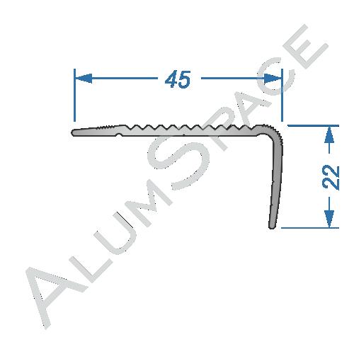 Алюминиевый порог рифленый 45 х 20мм 0,9м, анод