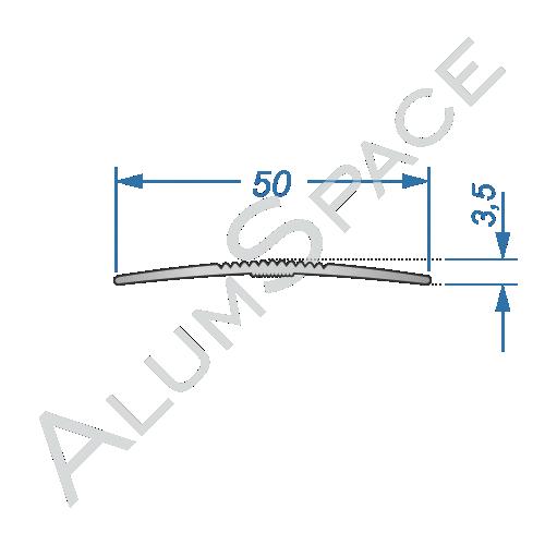 Алюминиевый порог рифленый 50мм х 2,7м, анод