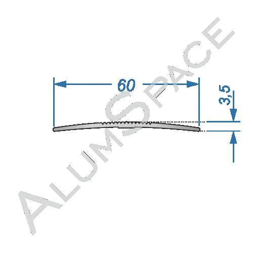 Алюминиевый порог рифленый 60мм х 2,7м, анод
