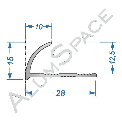 Алюминиевый порог внешний угловой 28мм х 2,7м, анод