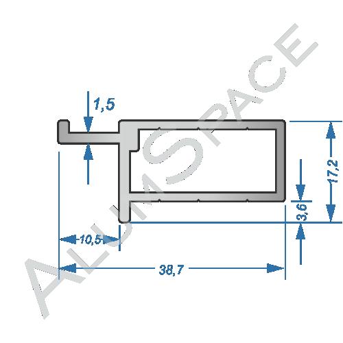 Алюминиевый профиль чеверти для дверного полотна