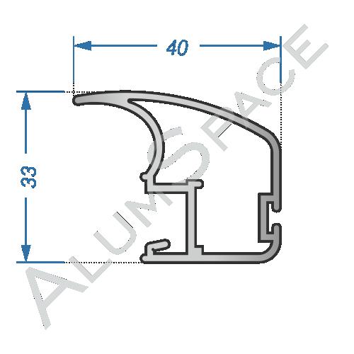Алюминиевый профиль для шкафов-купе боковой A107