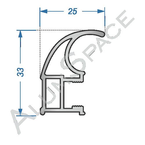 Алюминиевый профиль для шкафов-купе боковой AA109