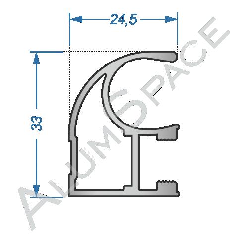 Алюминиевый профиль для шкафов-купе боковой AA114