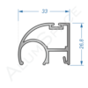 Алюминиевый профиль для шкафов-купе боковой AA119